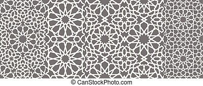 elementos, ornamental, motiff, 10, patrón, símbolo, ornamento, eps, islámico, vector, persa, árabe, 3d, ramadan, geométrico, circular redonda