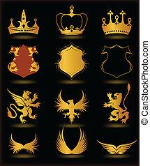 elementos, oro, heráldico, colección, vector, negro