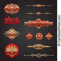 elementos, ouro, &, desenho, luxo, vermelho