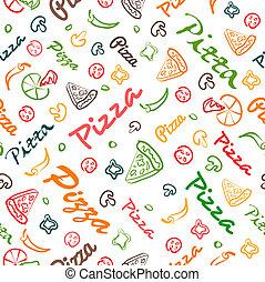 elementos, padrão, seamless, mão, desenhado, pizza