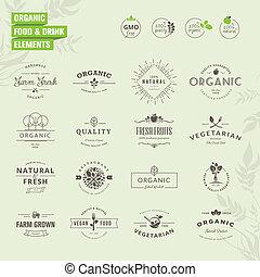 elementos, para, alimento orgánico, y, bebida