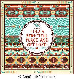 elementos, patrón, seamless, azteca, tipográfico, citas, ...