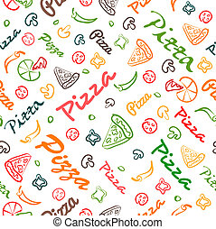 elementos, patrón, seamless, mano, dibujado, pizza