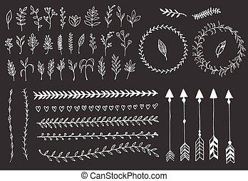 elementos, penas, divisores, mão, setas, vindima, floral, desenhado