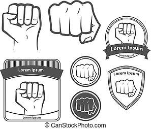 elementos, poder, símbolo, desenho, punho, mascote