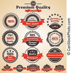 elementos, prêmio, vindima, labels., desenho, retro, qualidade, design.