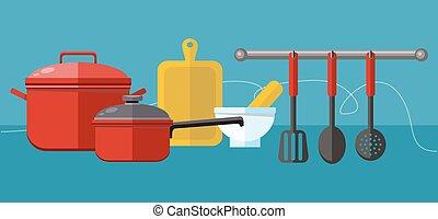 elementos, preparação alimento, cozinhar, refeições, saque