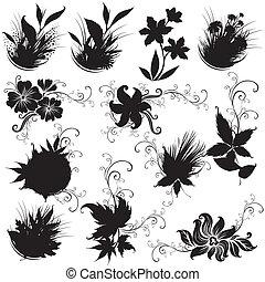 elementos, pretas, floral, projeto fixo