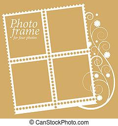 elementos, quadro, photos., quatro, vetorial, floral