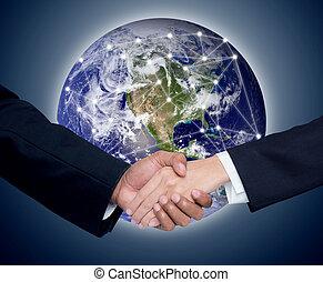 elementos, red, empresa / negocio, gente, esto, comunicación, imagen,  global, Plano de fondo, Manos, amueblado, sacudida,  NASA
