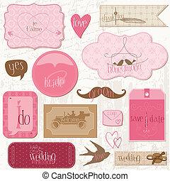 elementos, romanticos, etiquetas, convite, -for, vetorial, desenho, casório, scrapbook