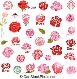 elementos, rosas, desenho