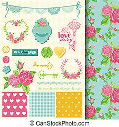 elementos, roto, -, tema, vetorial, desenho, scrapbook, floral, chique