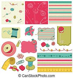 elementos, scrapbooking, cosendo, -, equipamento, desenho