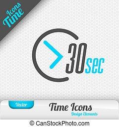 elementos, segundos, símbolo, 30, vector, diseño, tiempo, ...