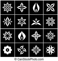 elementos, set., simbólico, icons., flowers., diseño, floral