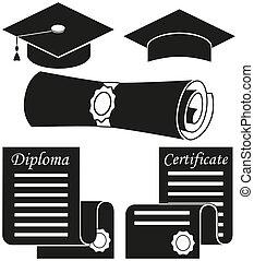 elementos, silueta, graduação, jogo, pretas, 5, branca