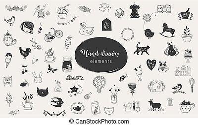 elementos, simples, mão, vetorial, desenhado, doodles, ilustrações