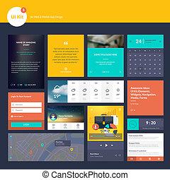 elementos, sitio web, plano, diseño