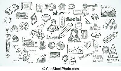 elementos, social, jogo, mídia, infographics, esboço, doodles
