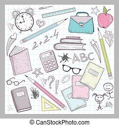 elementos, suministros, escuela