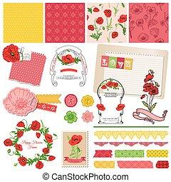 elementos, -, tema, vetorial, desenho, scrapbook, papoula, flores
