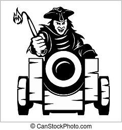 elementos, themed, canon, -, diseño, pirata