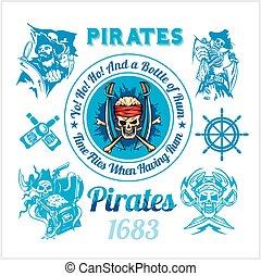 elementos, themed, set., -, pirata, vector, diseño