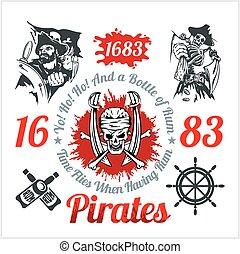 elementos, themed, set., -, vector, diseño, pirata