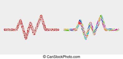 elementos, triangulo, sinal, pulso, vetorial, mosaico, ícone
