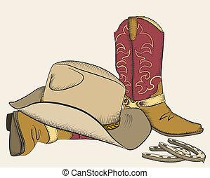 elementos, vaquero, aislado, botas, design.american,...