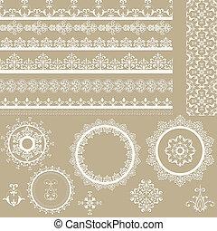 elementos, vector, diseño, cintas, servilletas, de encaje