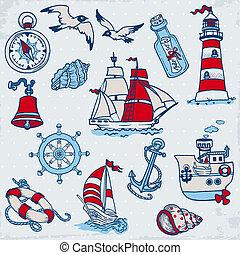 elementos, -, vector, diseño, mar, náutico, álbum de recortes