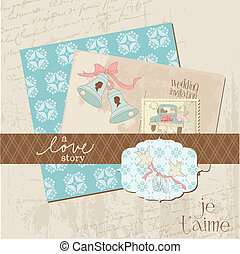 elementos, vendimia, boda, -, vector, diseño, álbum de recortes, invitación