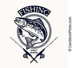 elementos, vendimia, Etiquetas, diseño, pesca, emblemas,...