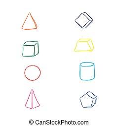 elementos, vetorial, esboço, geometria