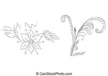 elementos, vetorial, floral