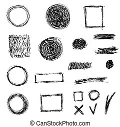 elementos, vetorial, jogo, doodle
