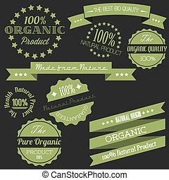elementos, viejo, orgánico, vendimia, vector, retro, artículos, natural