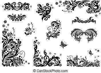 elementos, vindima, (black, desenho