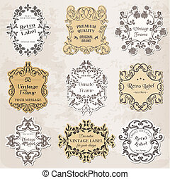 elementos, vindima, -, calligraphic, decoração, bordas, vetorial, desenho, página, set: