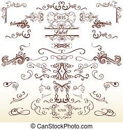 elementos, vindima, cobrança, calligraphic, flourishes, retro, decorações, página, style.eps