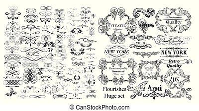 elementos, vindima, cobrança, calligraphic, flourishes, vetorial, grande, style.eps