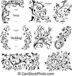elementos, vindima, cobrança, desenho, floral, tu
