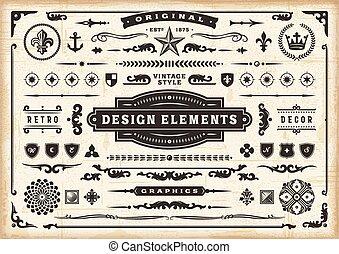 elementos, vindima, desenho, jogo, original