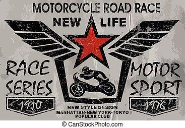 elementos, vindima, etiquetas, desenho, motocicleta, emblemas