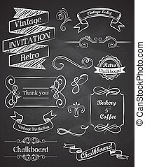 elementos, vindima, mão, vetorial, chalkboard, desenhado