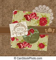 elementos, vindima, -, vetorial, desenho, bordas, scrapbook, flores