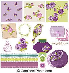 elementos, vindima, -, vetorial, desenho, scrapbook, flores