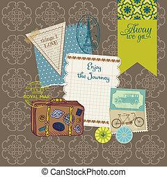 elementos, vindima, viagem, -, vetorial, desenho, set-, scrapbook